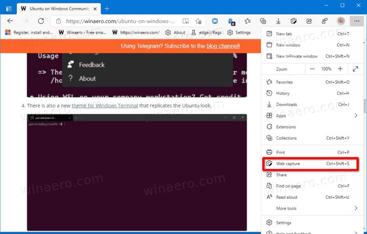 Launch Web Capture Tool In Edge