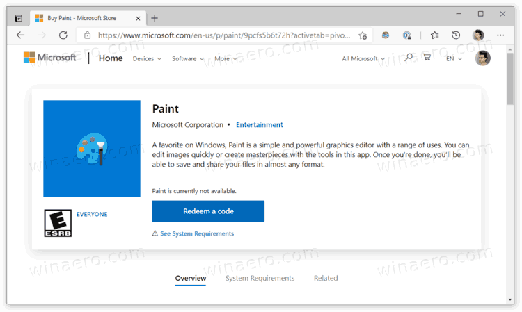 Microsoft Paint On The Store