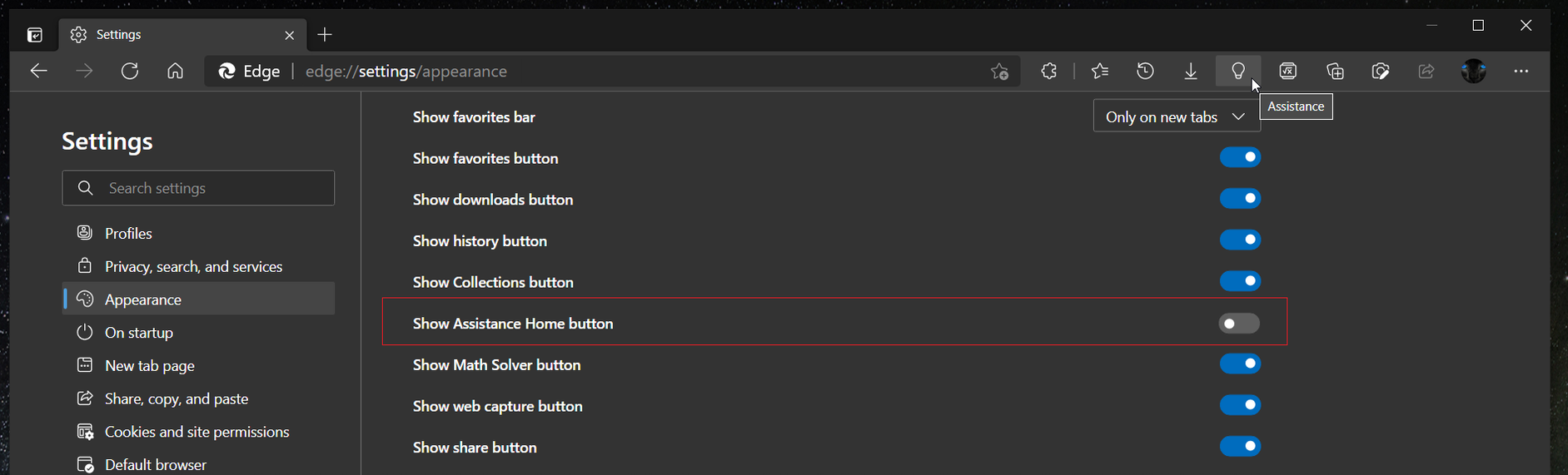 Remove Assistance Hub Button In Microsoft Edge