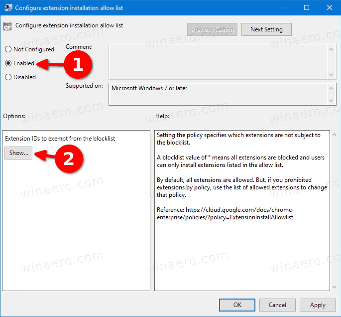Set The Policy To Enabled And Click The Show Button