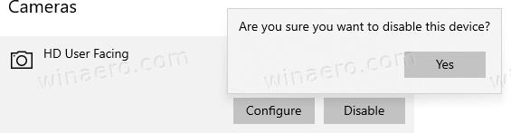 Windows 10 Disable Camera Confirmation