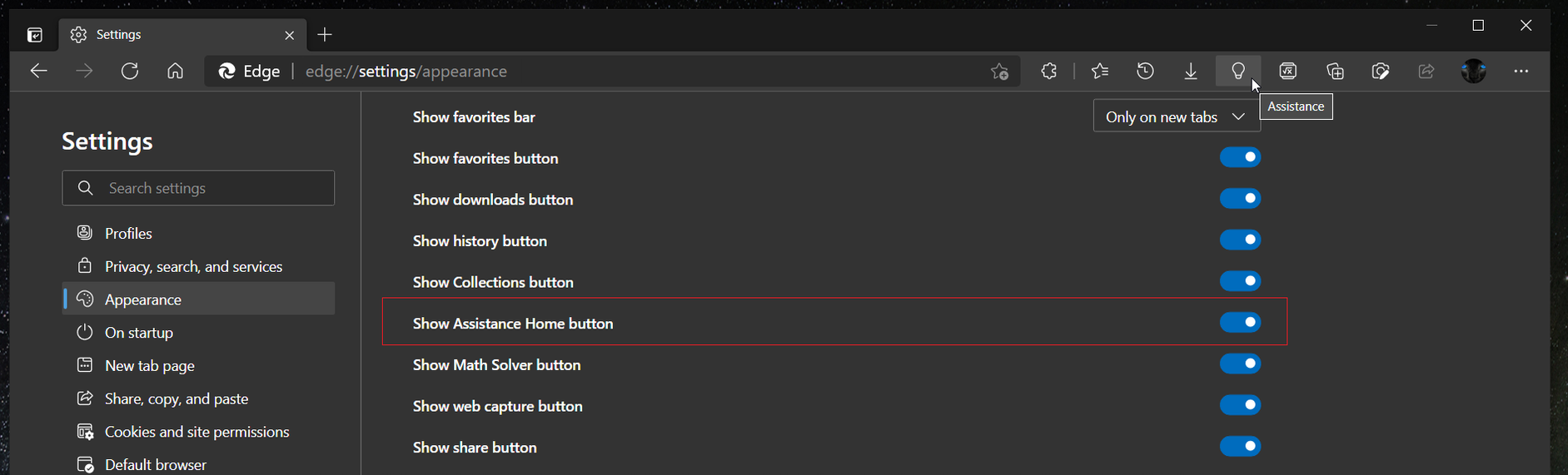 Add Assistance Hub Button In Microsoft Edge