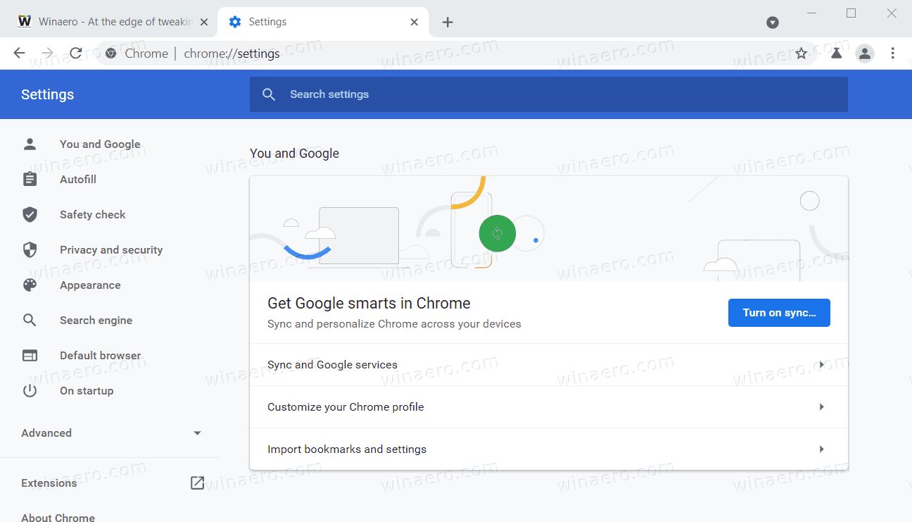 Chrome New Settings Page