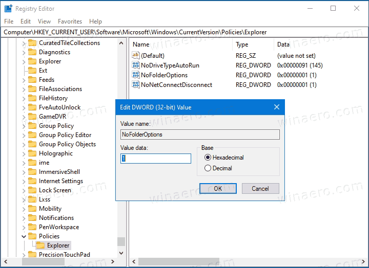 Disable Folder Options In Windows 10