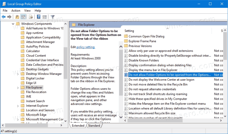 Do Not Allow Folder Options To Be Opened From The Options Button On The View Tab Of The Ribbon