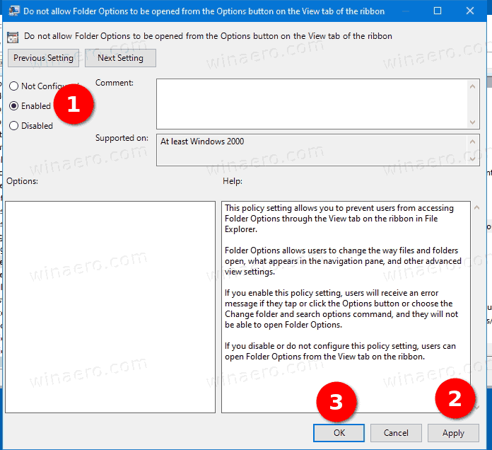 Enable Or Disable Folder Options Using Local Group Policy Editor