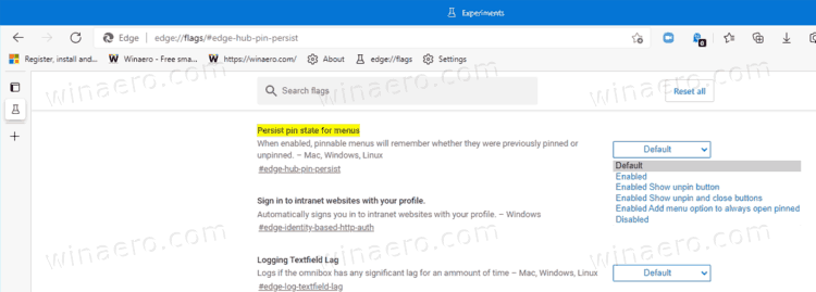 Make Microsoft Edge Remember Pinned State For Downloads, Favorites And History