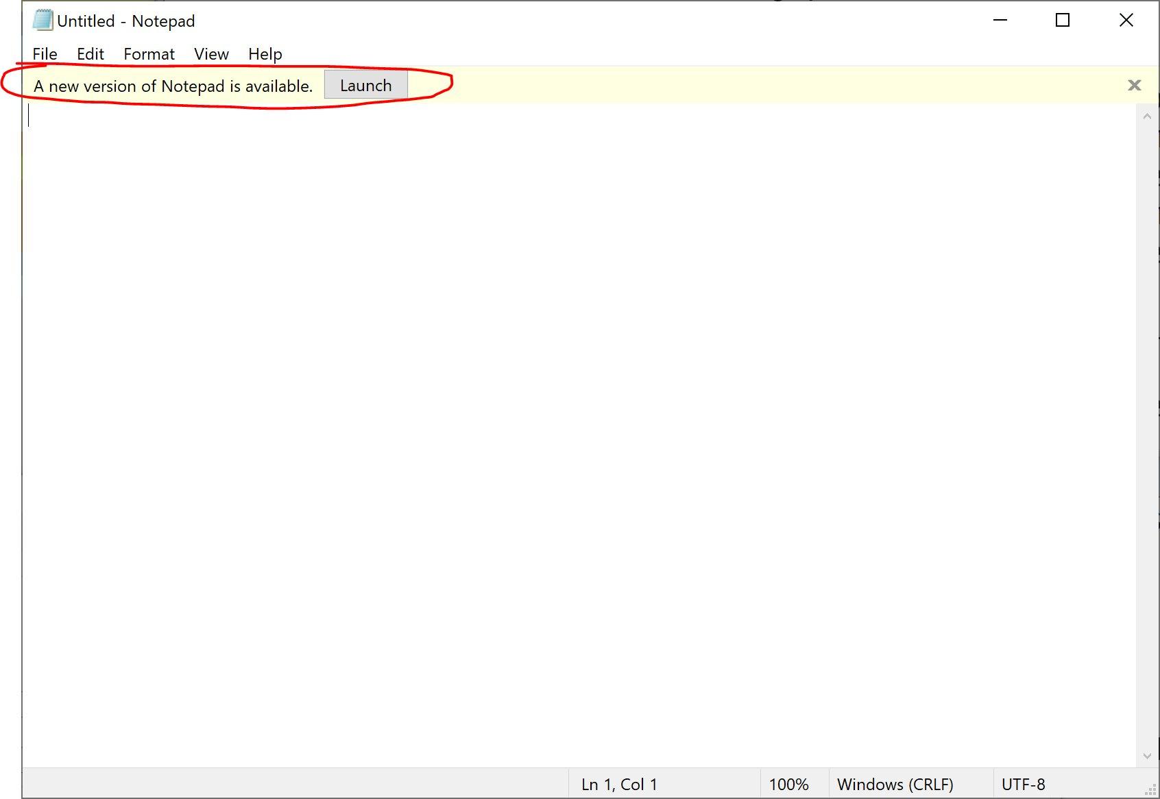 Notepad Update Notification