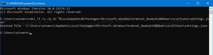 Reset Windows Terminal Settings