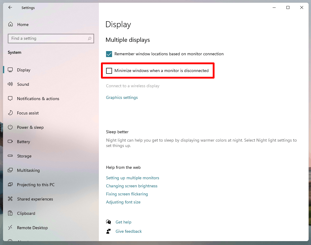 Disable Minimize Windows When Monitor Is Disconnected In Windows 11