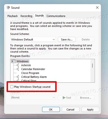 Disable Windows 11 Startup Sound