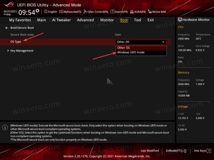 SelectWindows UEFI Mode