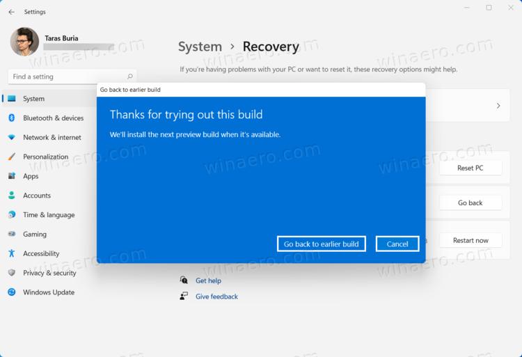 Go Back To Earlier Build Button
