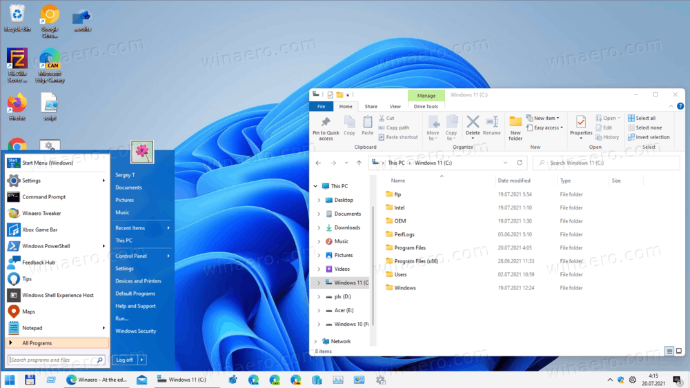 Restore Classic Start Menu and Taskbar In Windows 11