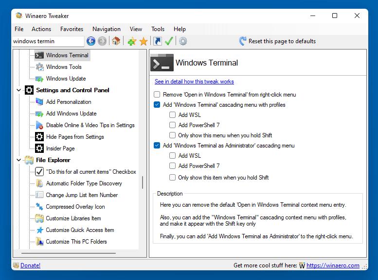 Winaero Tweaker Windows Terminal Context Menu