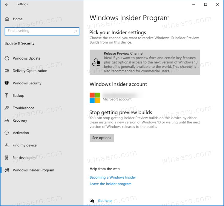Windows 10 Release Preview Channel In Settings