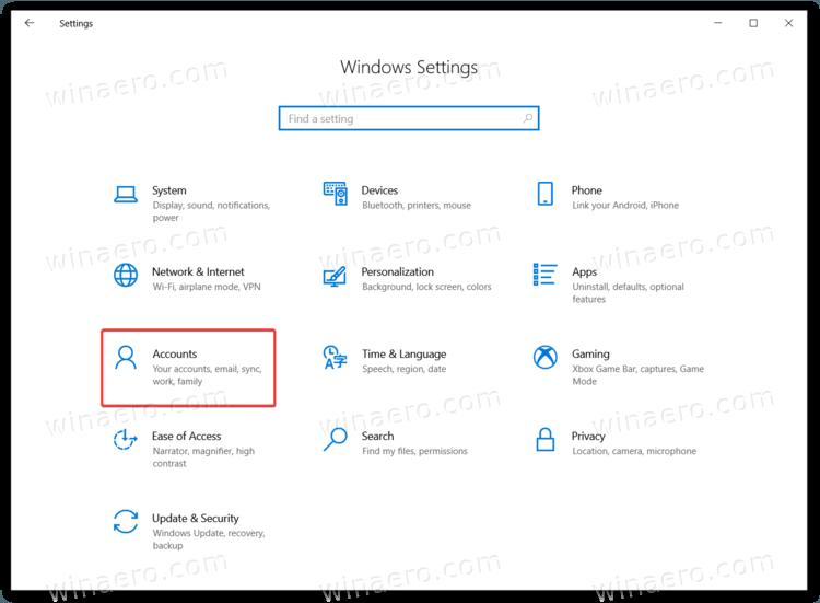 Windows 10 Settings Accounts Item