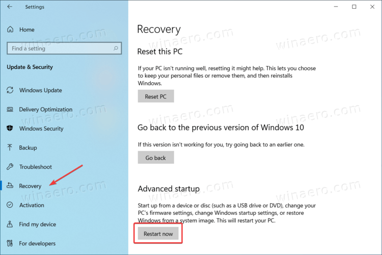 Windows 10 Advanced Startup Option In Recovery