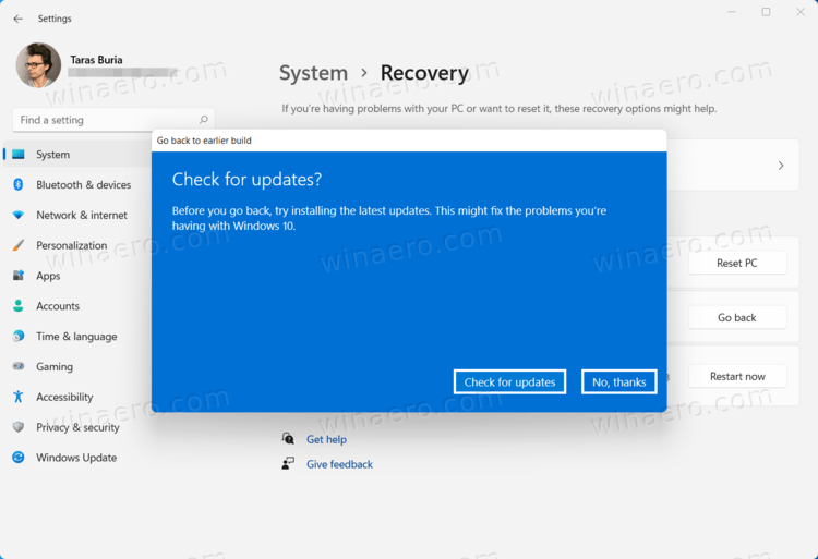 Return to Windows 10 from Windows 11 - Check For Updates Offer