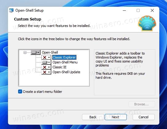 Customize Open Shell Setup