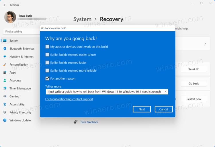 Return to Windows 10 from Windows 11