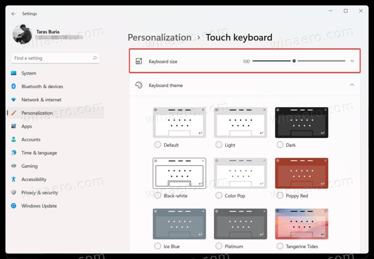 Change Touch Keyboard Size In Windows 11
