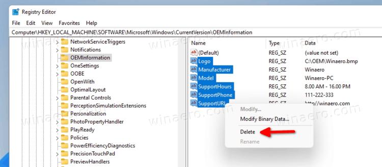 Delete OEM Info In Windows 11