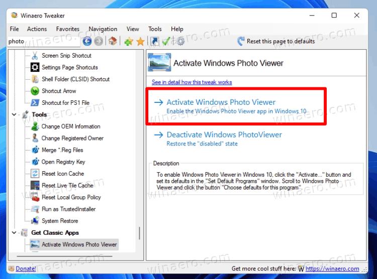 Enable Windows Photo Viewer in Winaero Tweaker