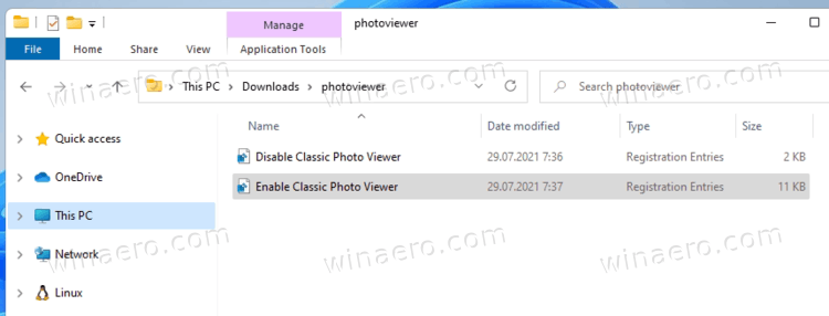 Enable the Classic Windows Photo Viewer app
