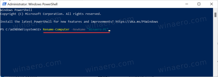 Rename Windows 11 PC In PowerShell