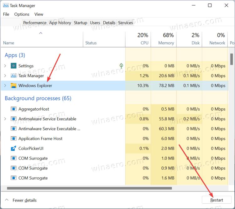 Restart File Explorer In Windows 11