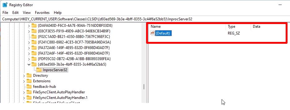 Set Default Value Blank For InprocServer32