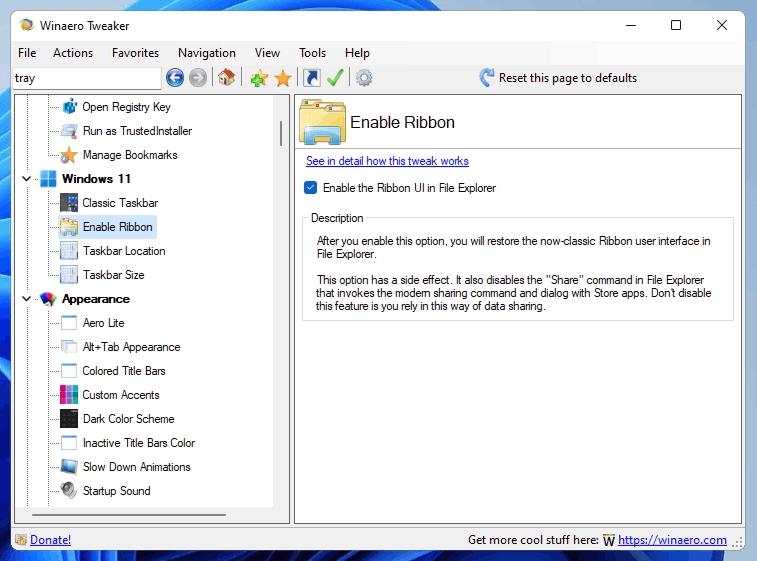 Tweaker Enable Ribbon In Windows 11
