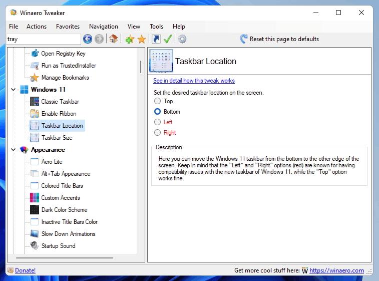 Tweaker Move Taskbar
