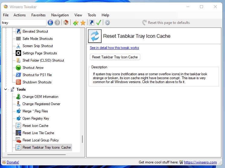 Tweaker Reset Tray Icons