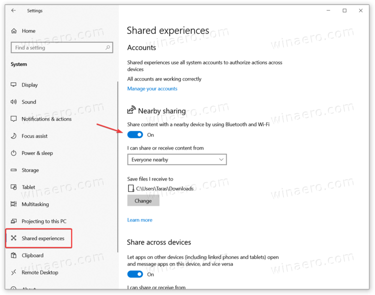 Windows 10 Enable Nearby Share