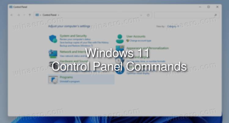 Windows 11 Control Panel Commands