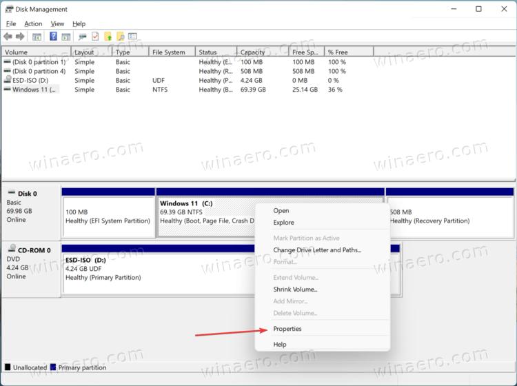 Windows 11 Disk Management Volume Properties Menu