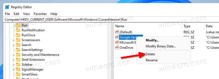 Windows 11 Remove App From Startup In Registry
