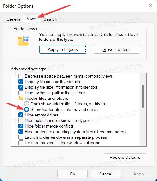 Windows 11 Show Hidden Files Folders And Drives Option