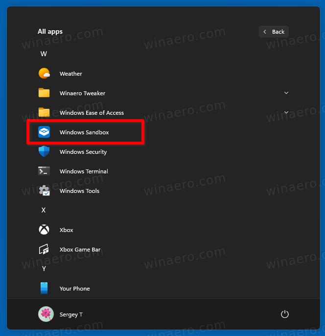 Windows Sandbox In Start Menu