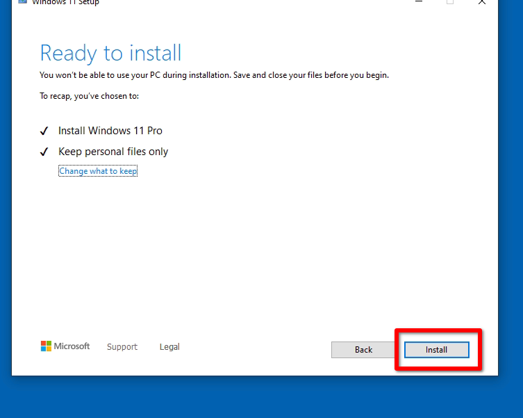Click On Install Button To Upgrade To Windows 11