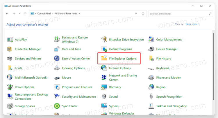 File Explorer Options In Control Panel