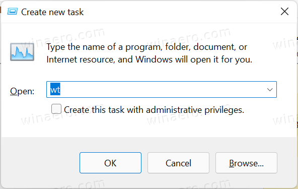 Open wt From Task Manager