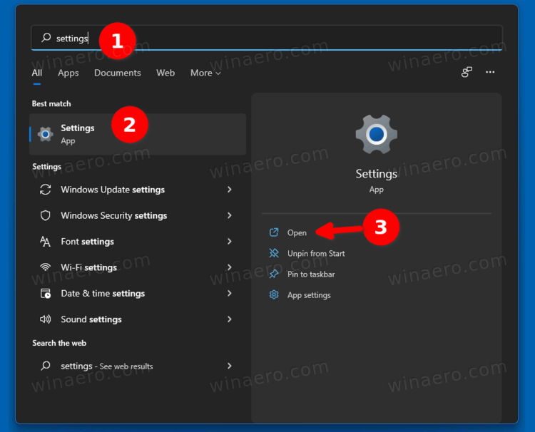 launch Settings From Windows Search