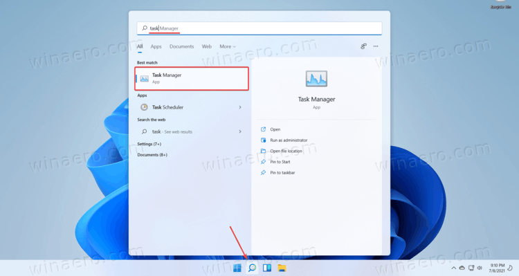 Open Task Manager In Windows 11 Search
