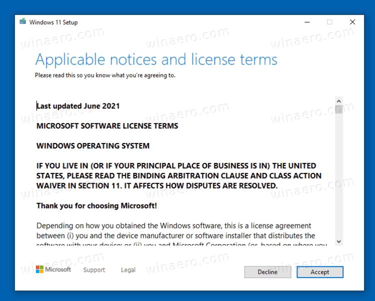 Upgrade To Windows 11 Accept License