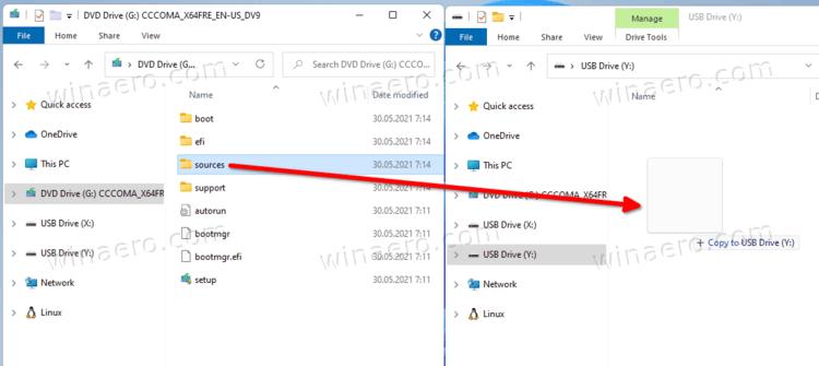 Copy Sources Folder To NTFS Partition