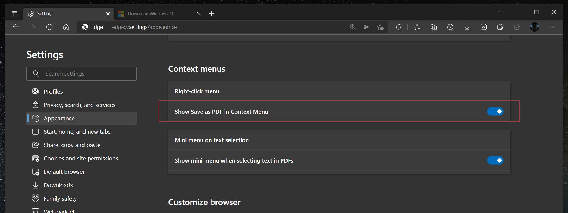 Edge Enable Save As PDF Context Menu