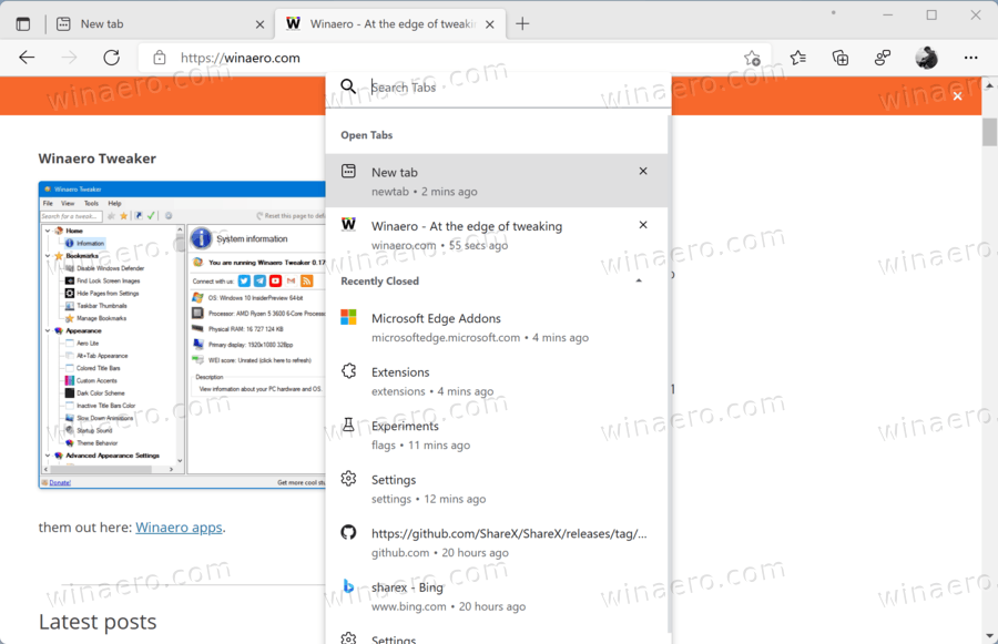 Edge Tab Search In Action